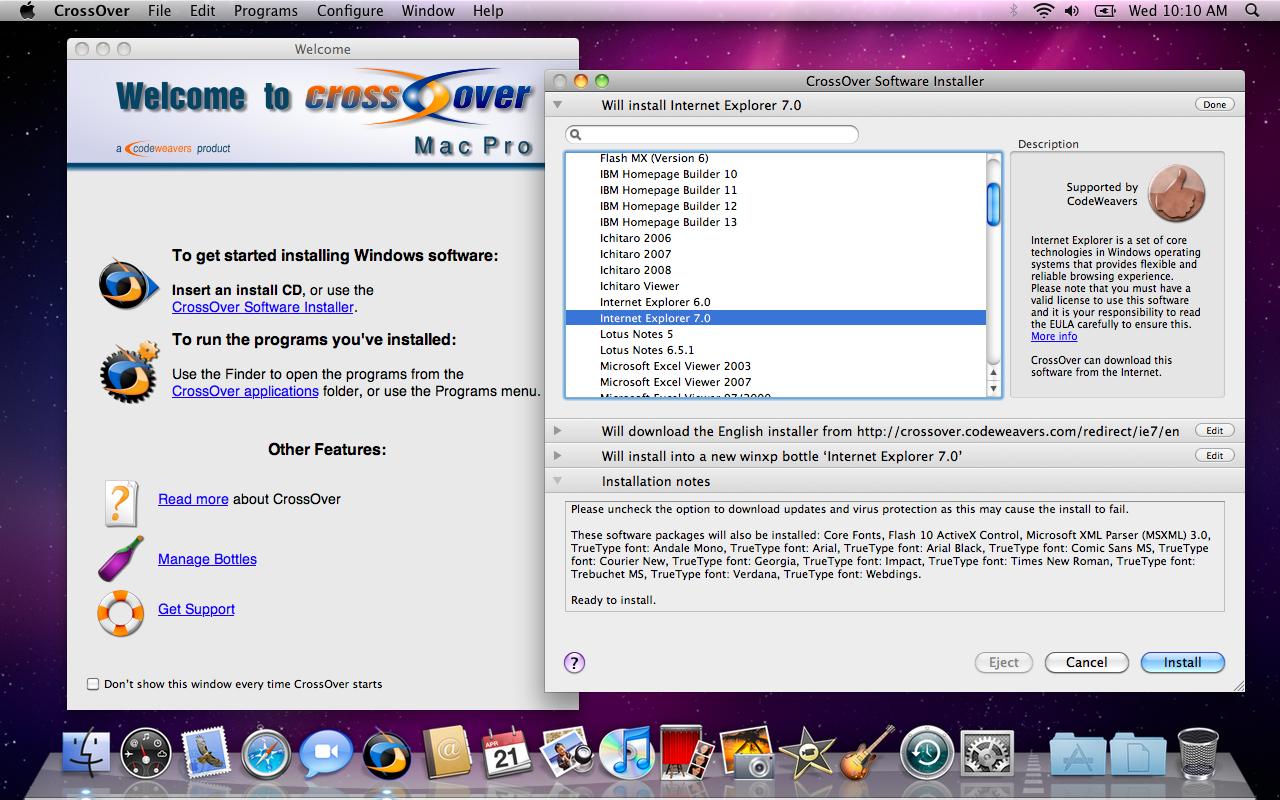 CrossOver Mac Screenshot