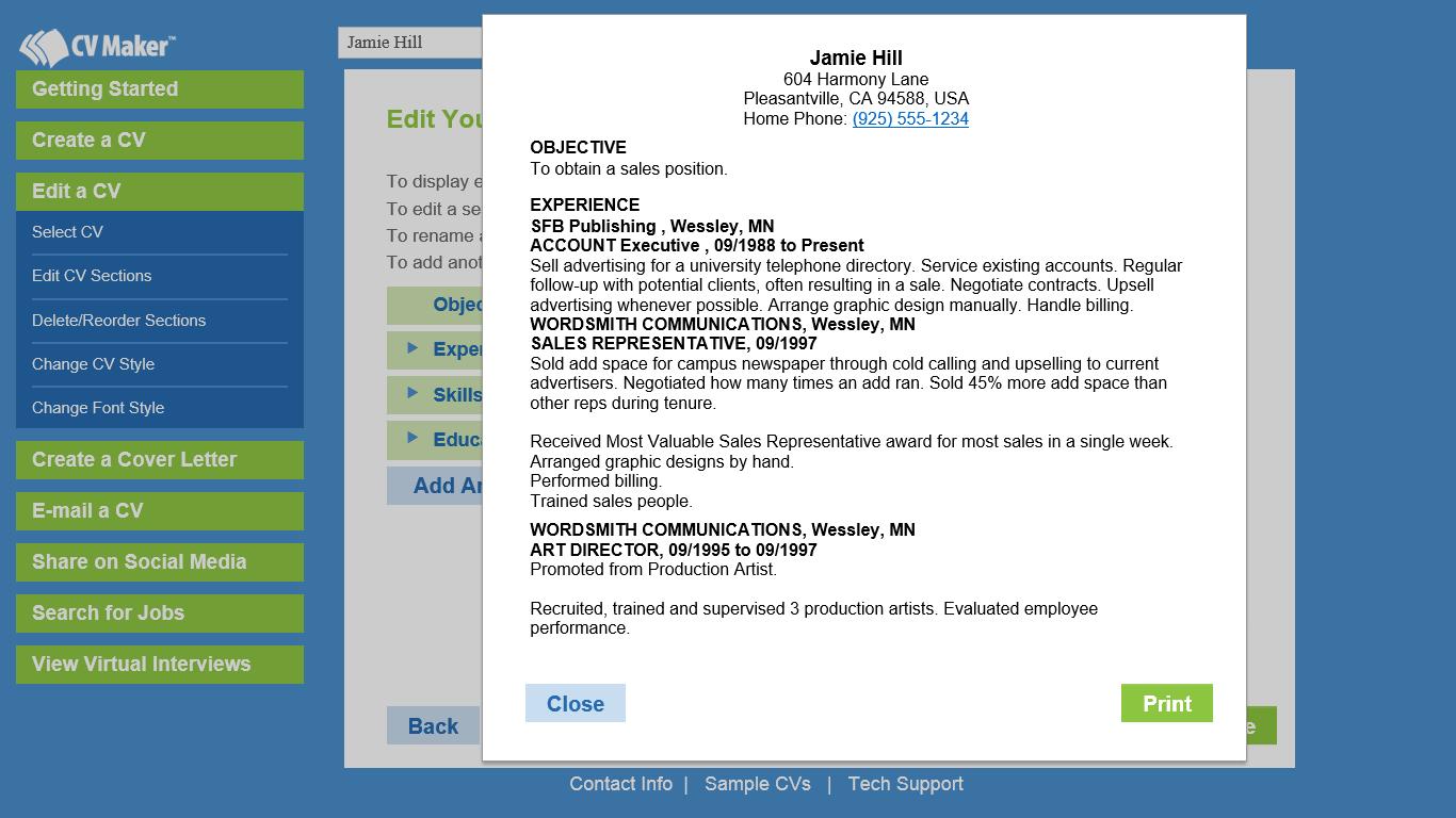 CV Maker, Job Search & Business Card Software Screenshot