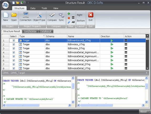 D-softs DB Compare, Development Software Screenshot