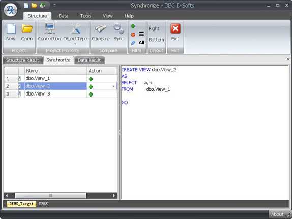 Database Management Software, D-softs DB Compare Screenshot