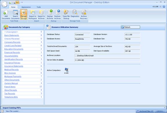 DA Document Manager, Business Management Software Screenshot
