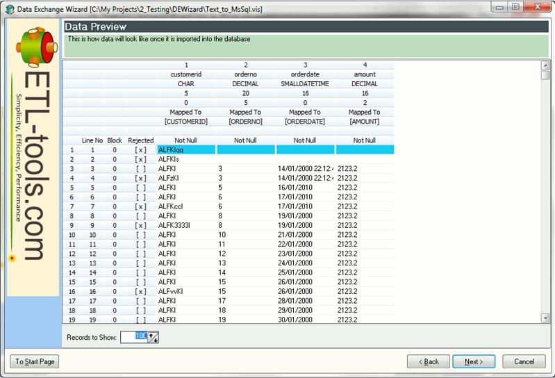 Database Software, Data Exchange Wizard Screenshot