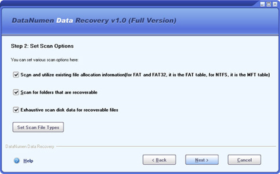 DataNumen Data Recovery, Files and Folders Software Screenshot