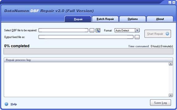 DataNumen DBF Repair Screenshot