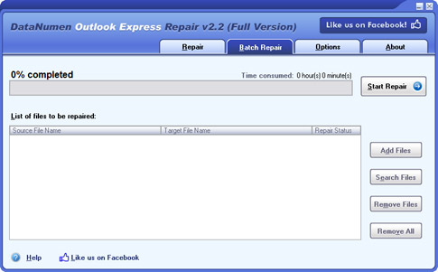 DataNumen Outlook Express Repair Screenshot
