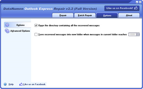 DataNumen Outlook Express Repair, Email Tools Software Screenshot
