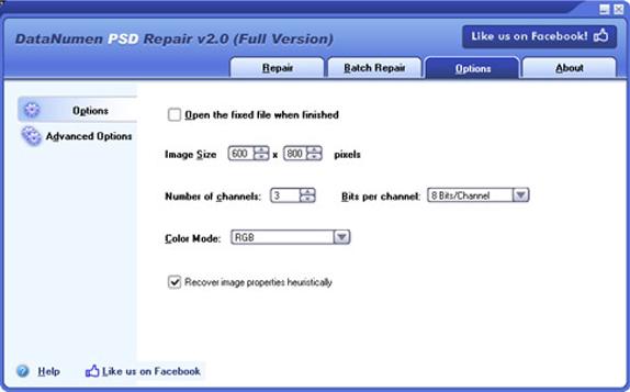DataNumen PSD Repair, Misc & Fun Graphics Software Screenshot
