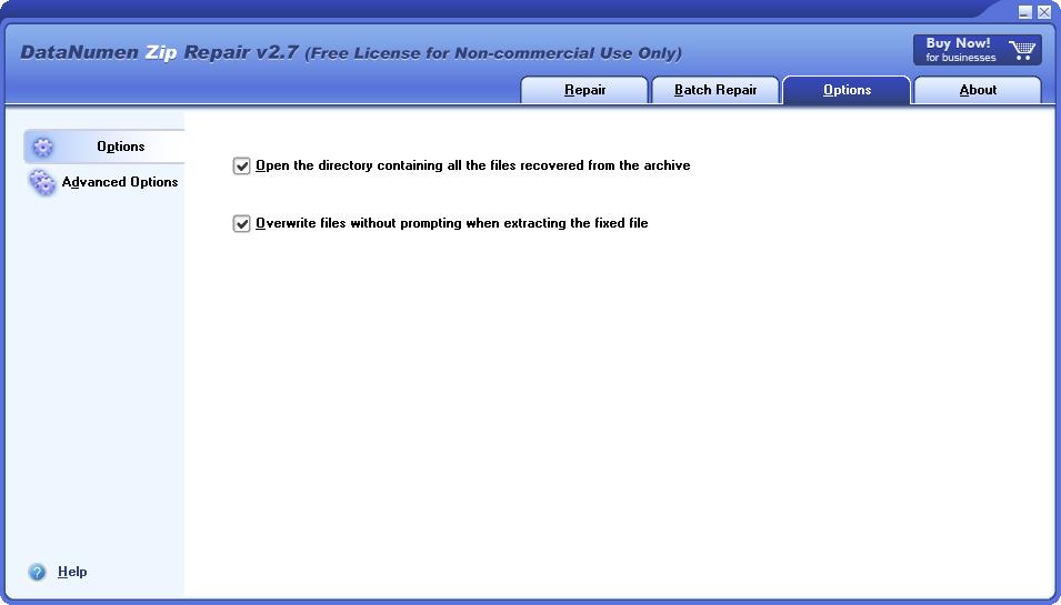 DataNumen Zip Repair, File Management Software Screenshot