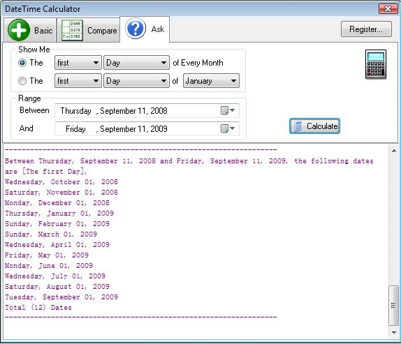 DateTime Calculator, Calculator Software Screenshot
