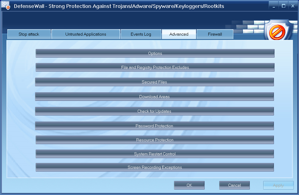 DefenseWall HIPS, Security Software Screenshot