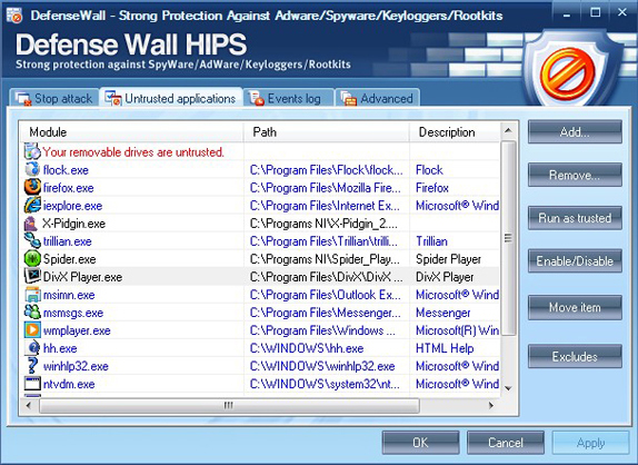 Security Software, DefenseWall Personal Firewall Screenshot