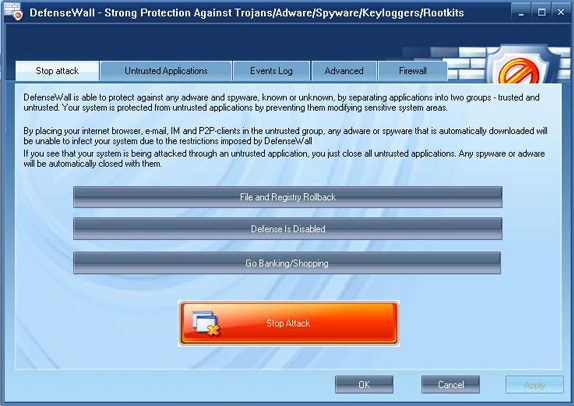 DefenseWall Personal Firewall Screenshot
