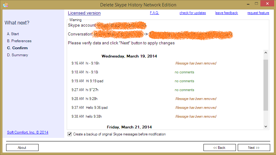 Delete Skype History Network Edition, Instant Messaging Software Screenshot