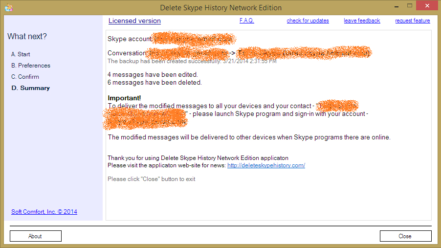 Delete Skype History Network Edition, Internet Software Screenshot