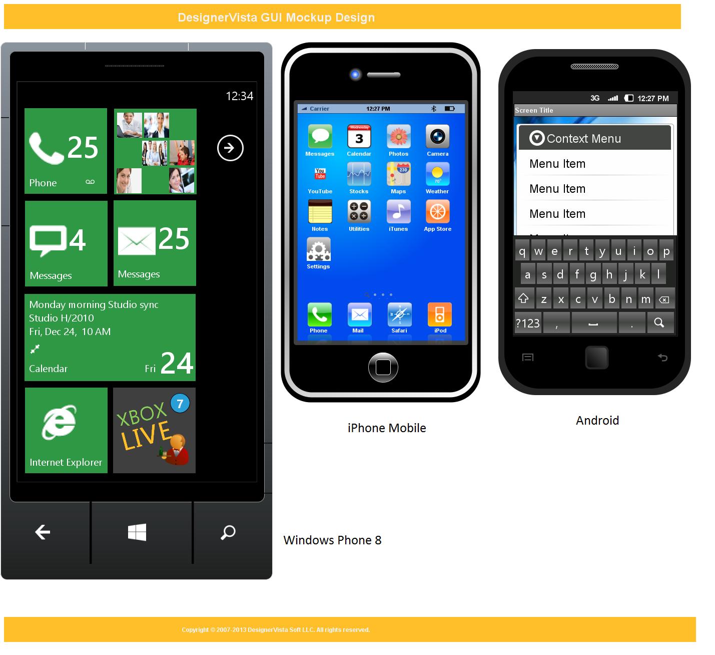 DesignerVista GUI Mockup Software, Graphic Design Software Screenshot