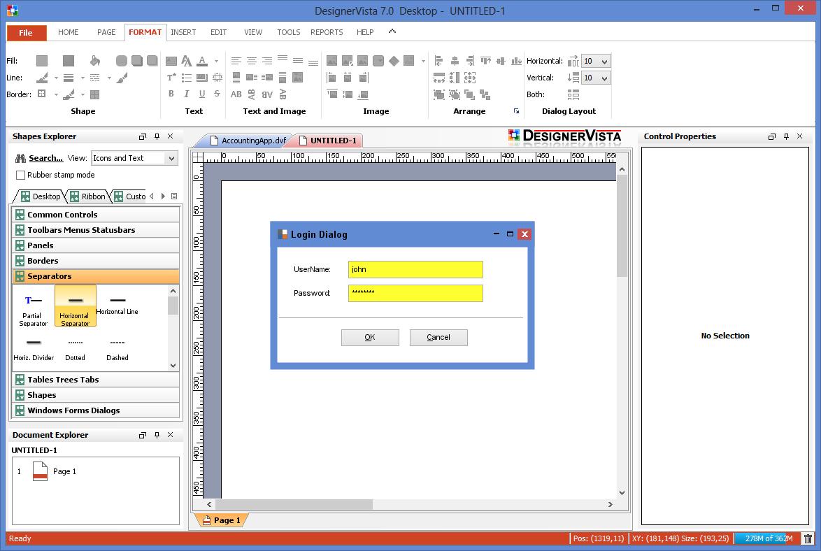 DesignerVista GUI Mockup Tool Screenshot