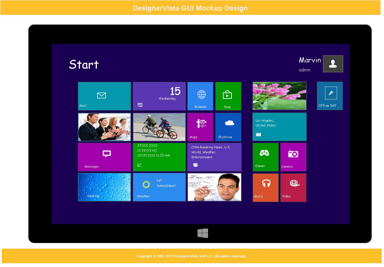 DesignerVista GUI Mockup Tool, Development Tools Software Screenshot