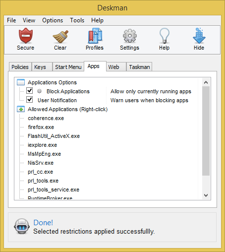 Access Restriction Software, Deskman 15 Screenshot