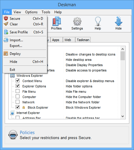 Security Software, Deskman 15 Screenshot