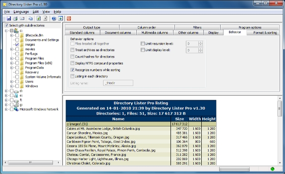 Directory Lister Pro and Backup Dwarf Professional Screenshot
