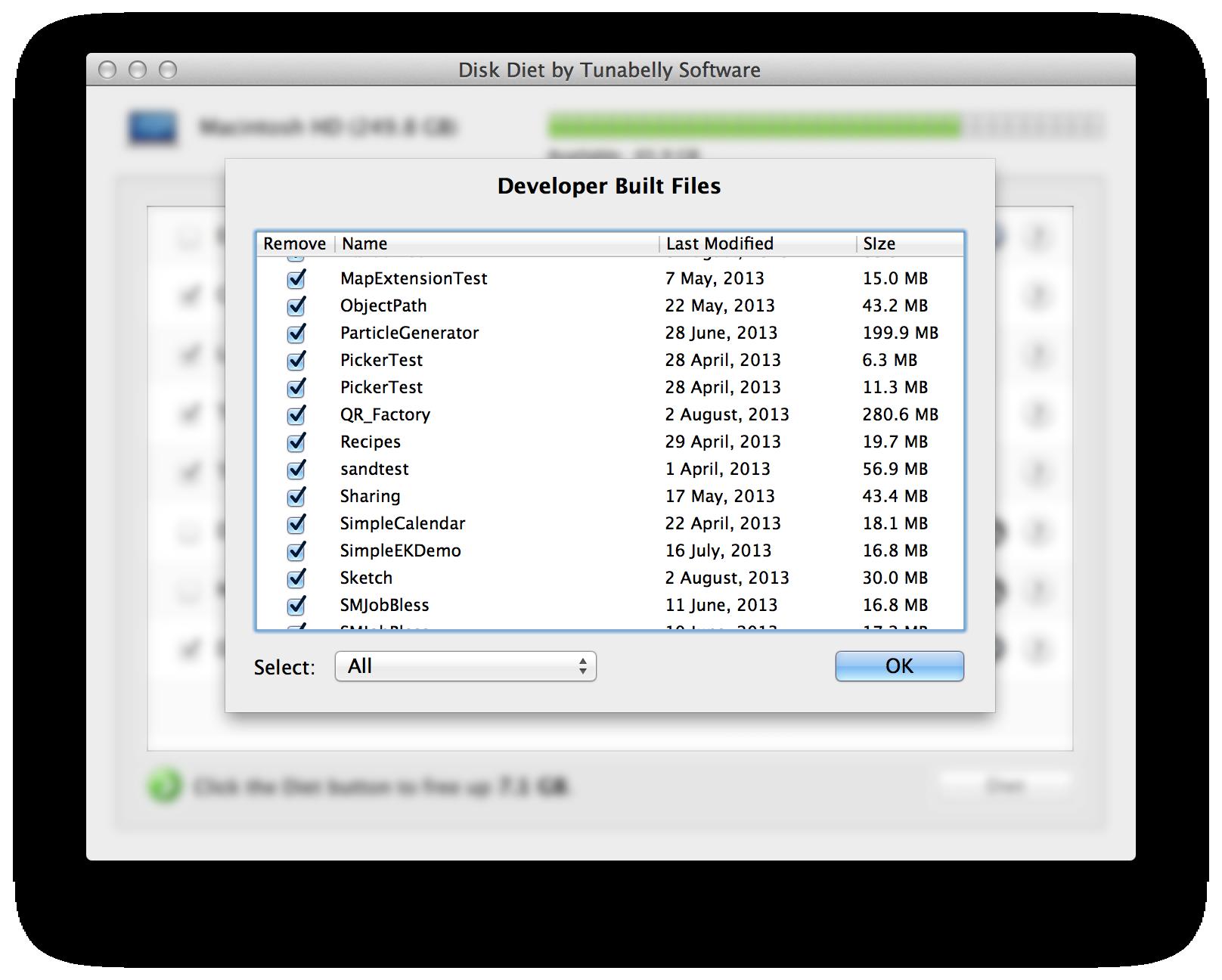 Disk Diet, Files and Folders Software Screenshot