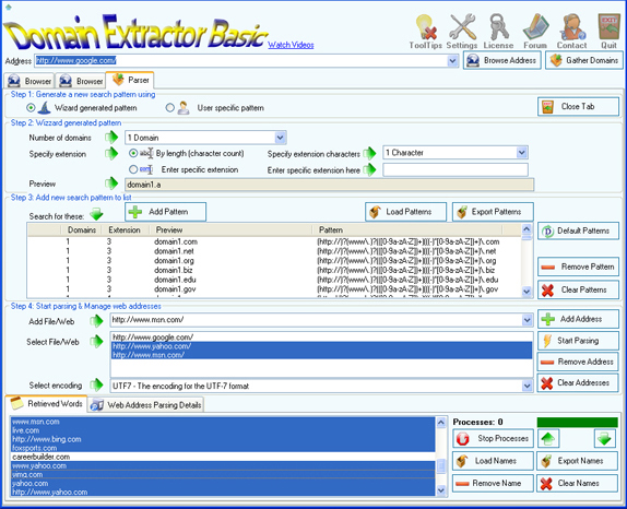 Website Scraping Software, Domain Extractor Basic Screenshot