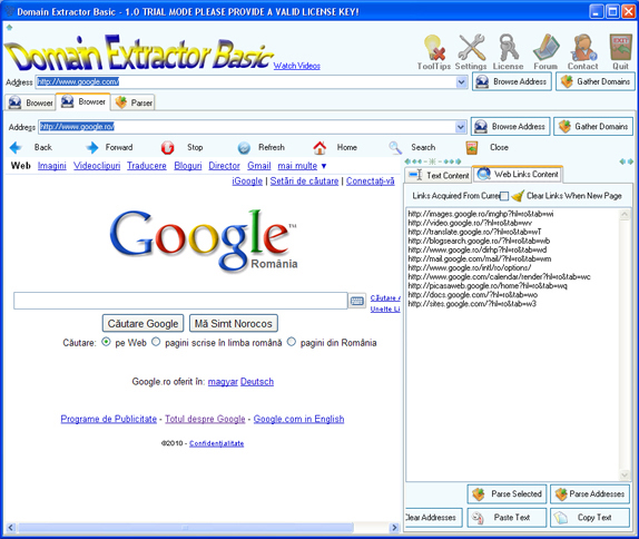 Domain Extractor Basic, Internet Software Screenshot