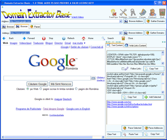 Domain Extractor Basic, Website Scraping Software Screenshot