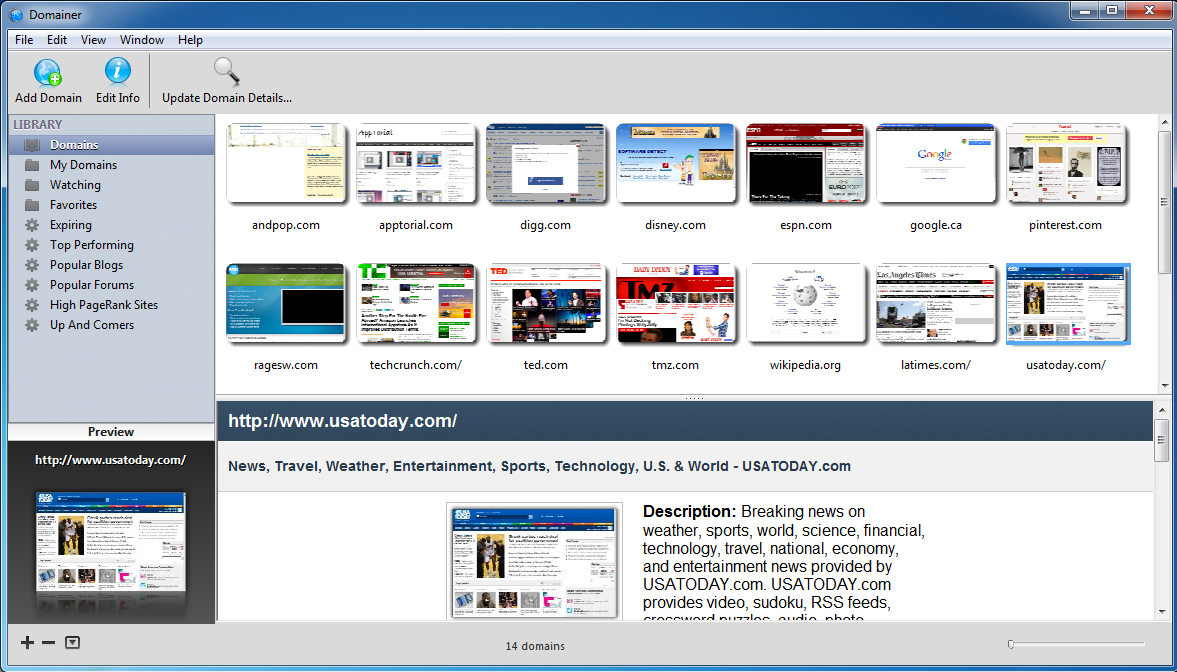 Domainer, Website Promotion Software Screenshot