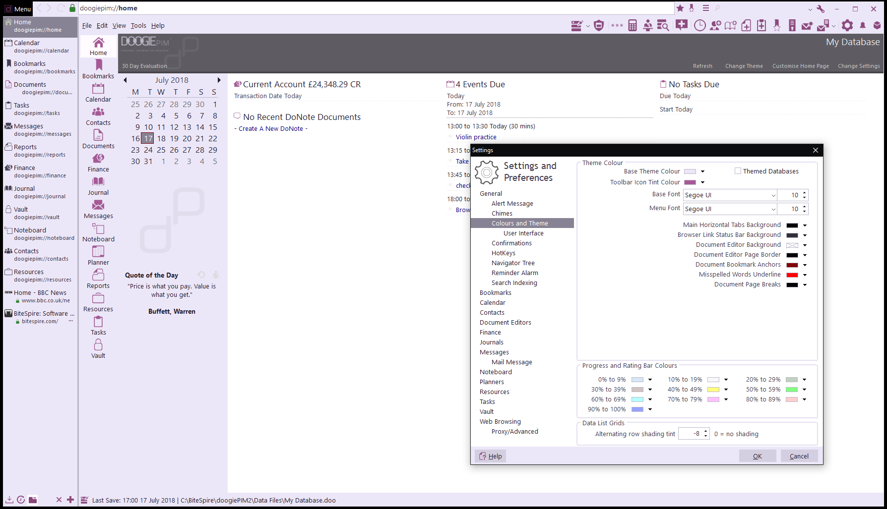 PIM Software, doogiePIM Screenshot