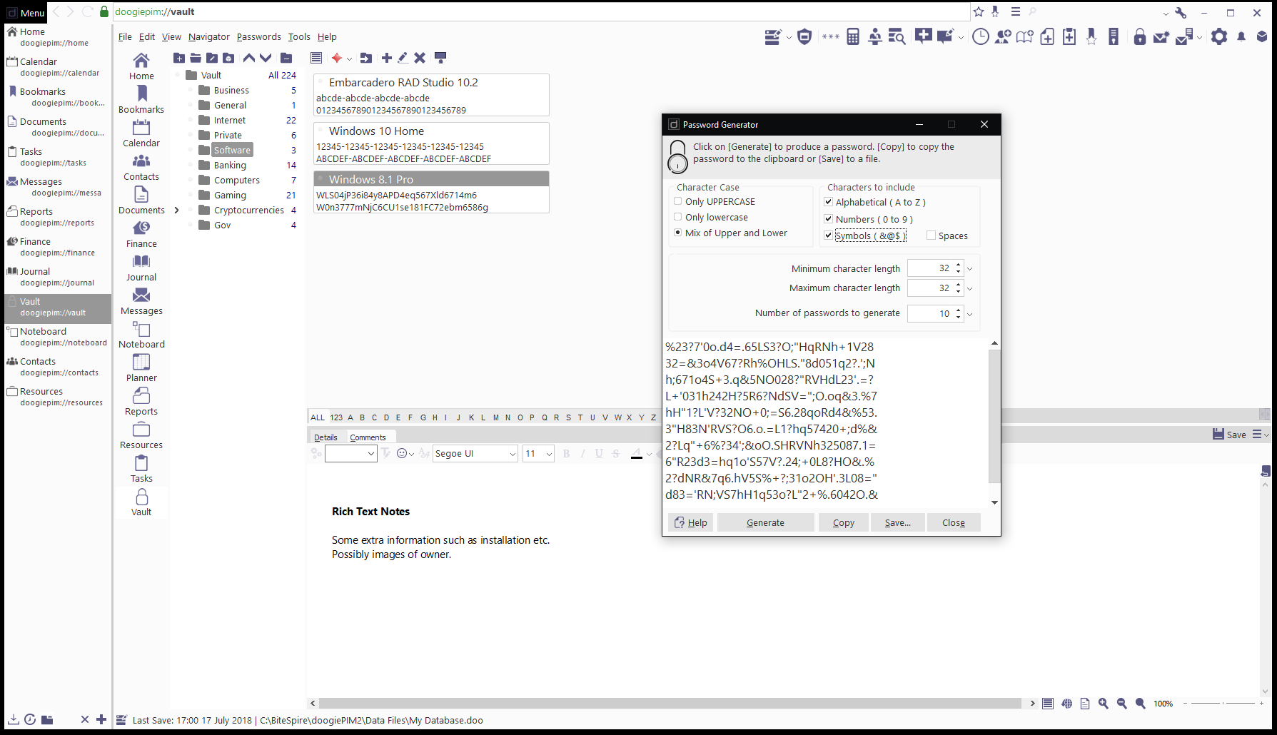 doogiePIM, Productivity Software, PIM Software Screenshot