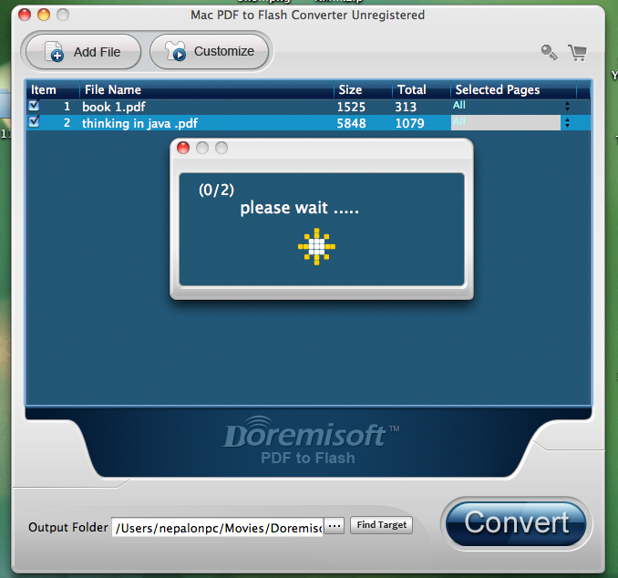 PDF Conversion Software, Doremisoft PDF to Flash Converter for Mac and PC Screenshot