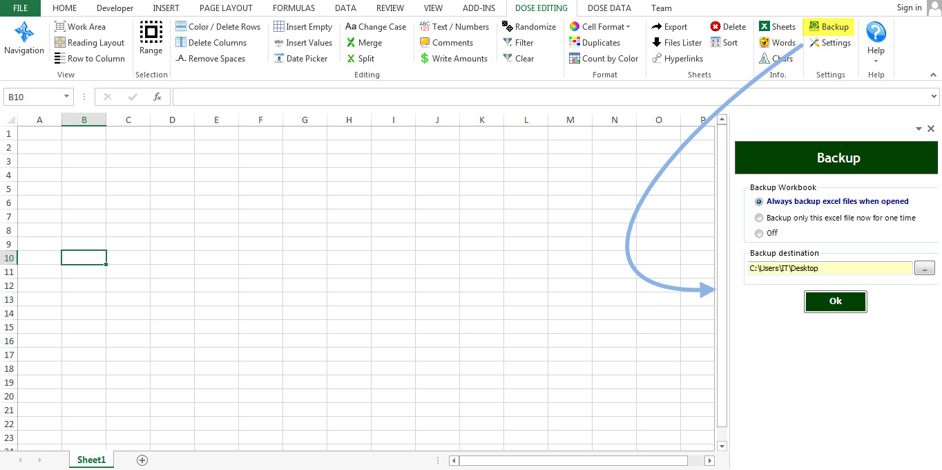 Dose for Excel Add-In Screenshot