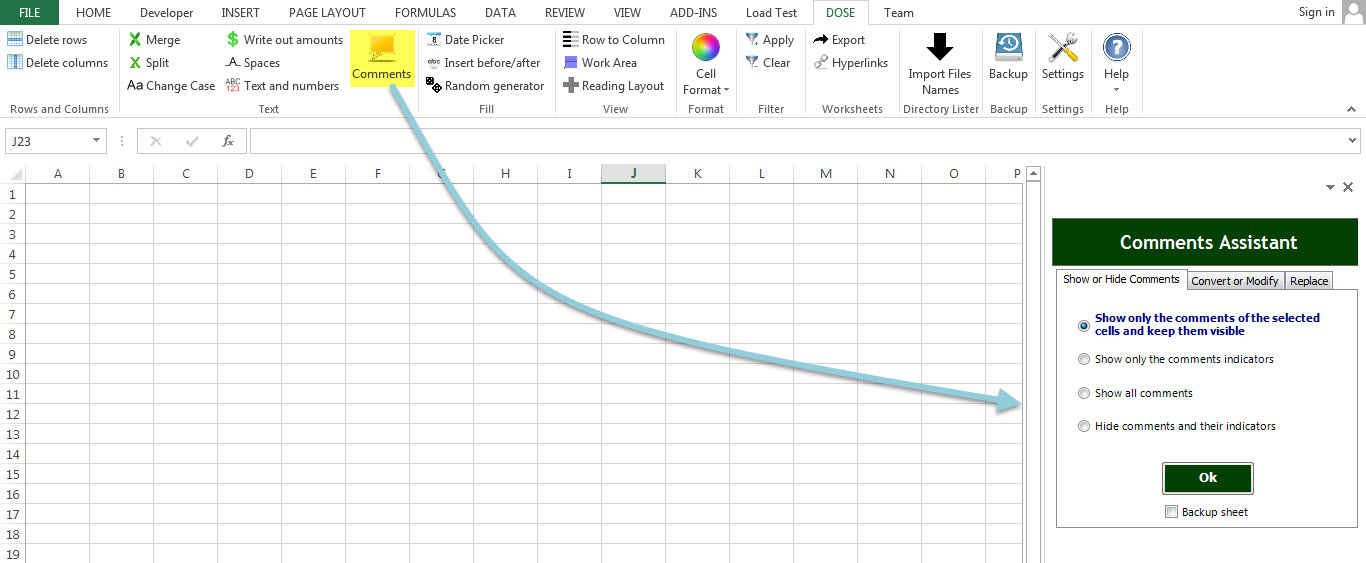 Dose for Excel Add-In, Business & Finance Software Screenshot