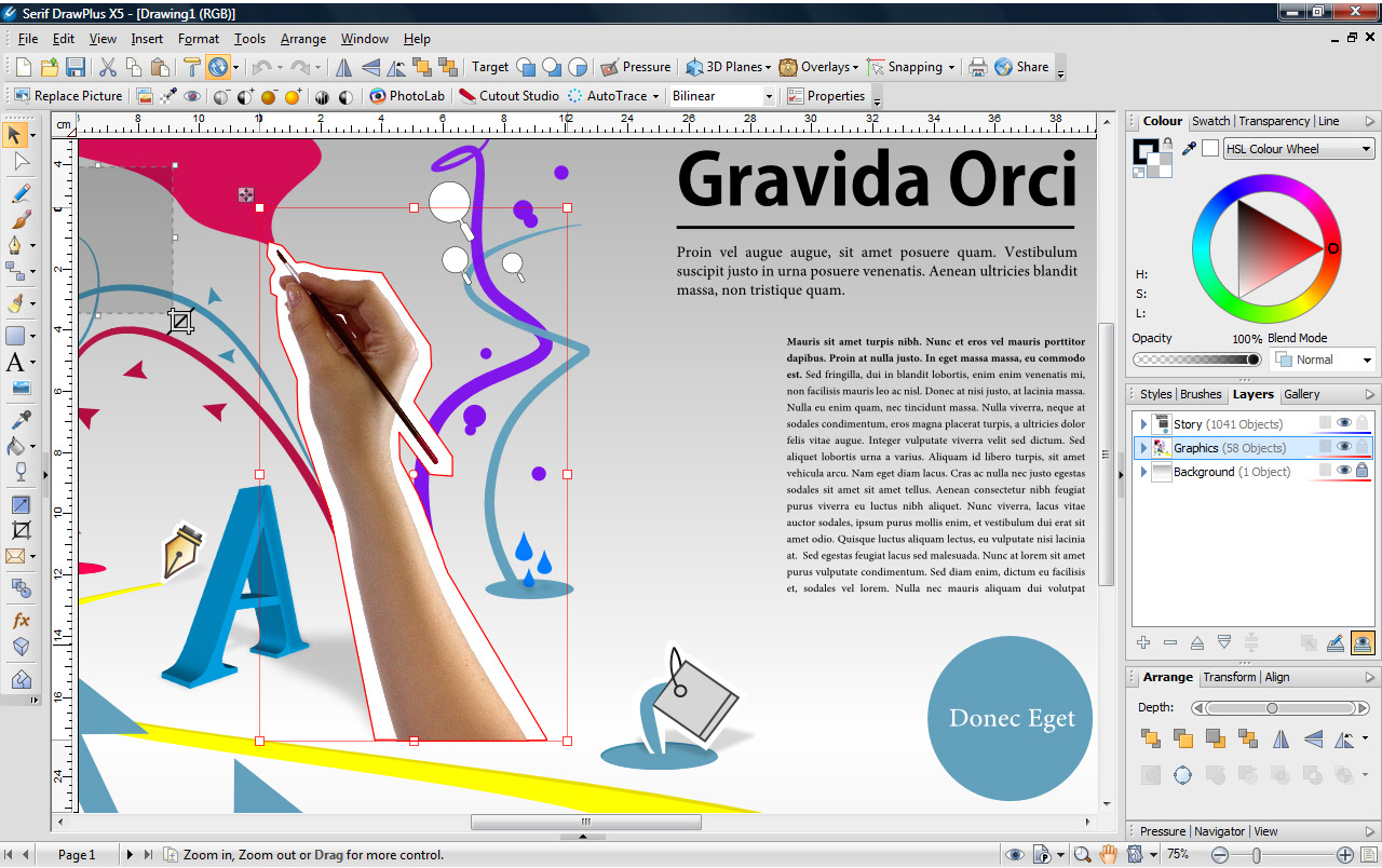 Draw Plus X5, Graphic Design Software Screenshot