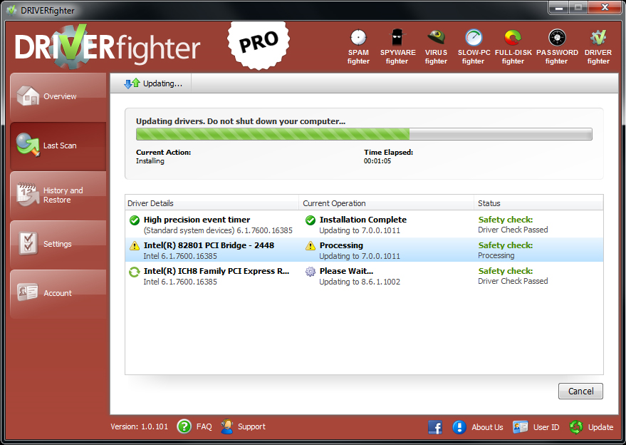 DRIVERfighter, System Stability Software Screenshot