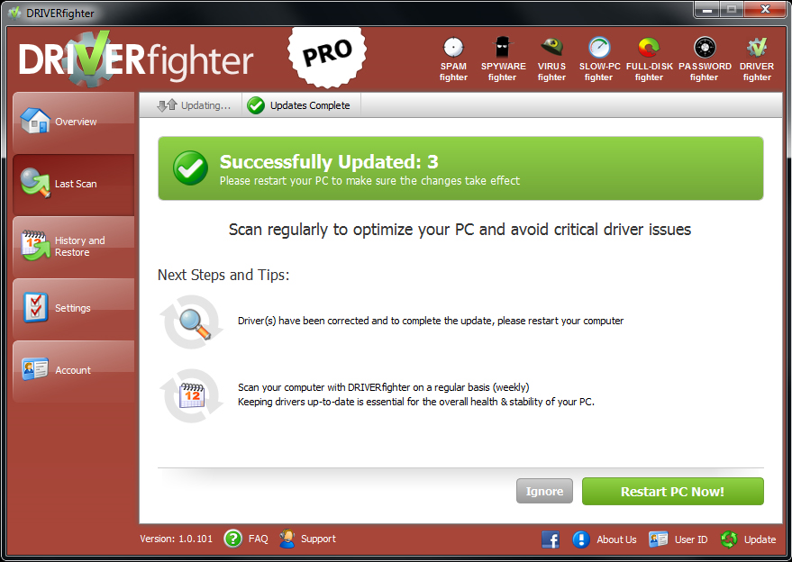 DRIVERfighter, Software Utilities Screenshot