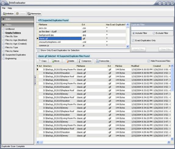 DrivEvaluator, File Management Software Screenshot