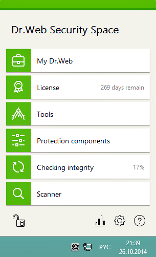 Dr.Web Security Space, Antivirus Software Screenshot