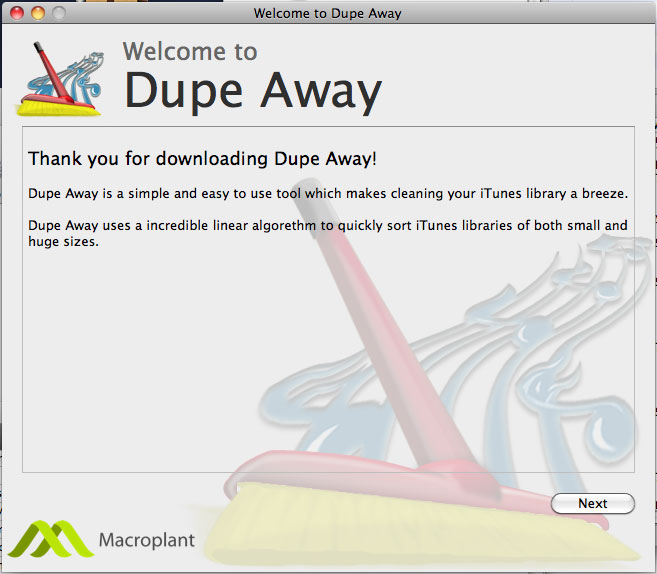 Dupe Away, iPod iPhone iTunes Software Screenshot