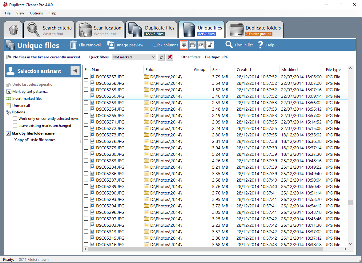 Duplicate Files Software, Duplicate Cleaner Pro Screenshot