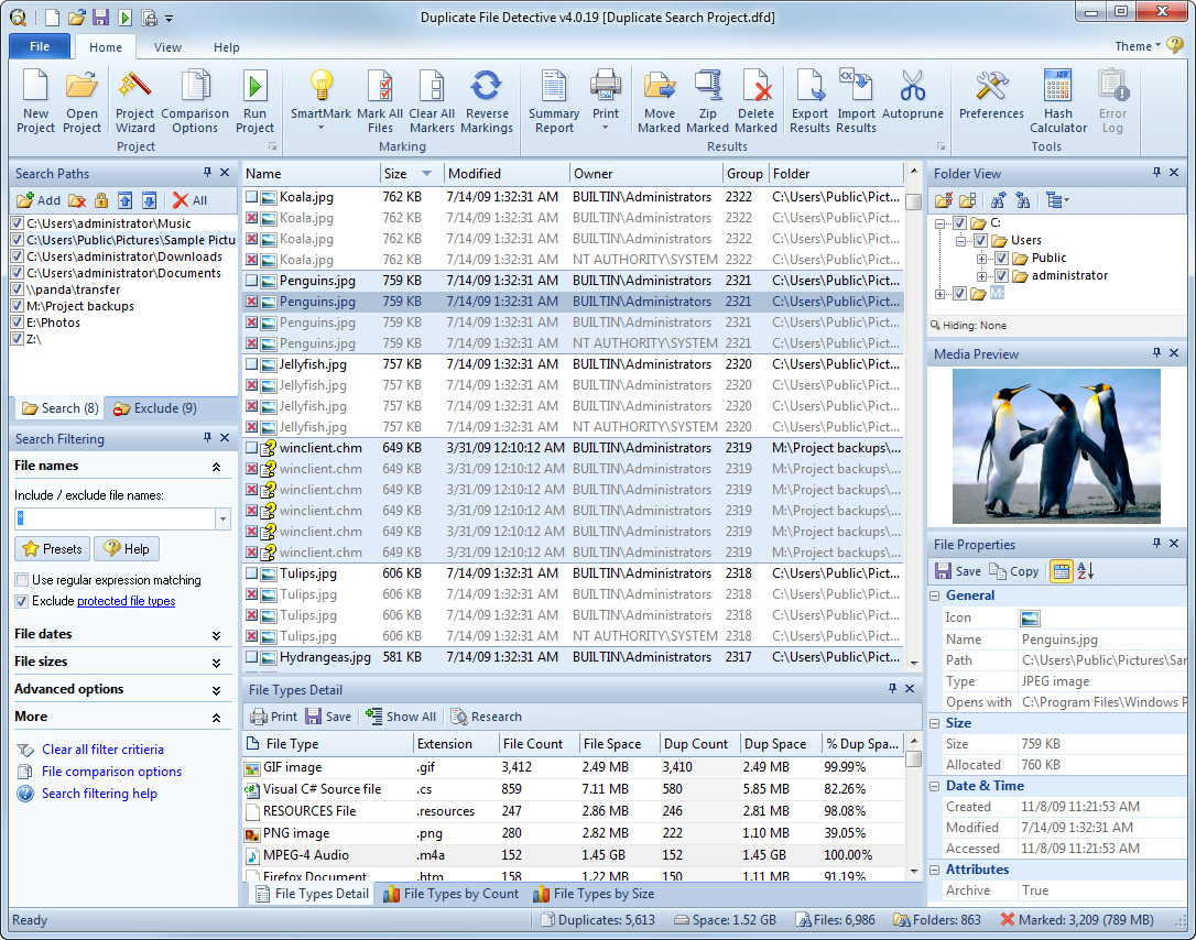 Duplicate File Detective 6.0, Software Utilities Screenshot