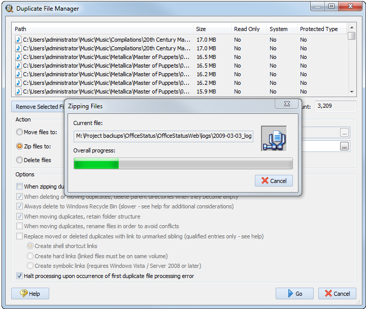 Software Utilities, Duplicate Files Software Screenshot