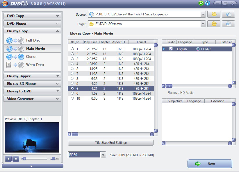 DVDFab Blu-ray Copy, Video Converter Software Screenshot