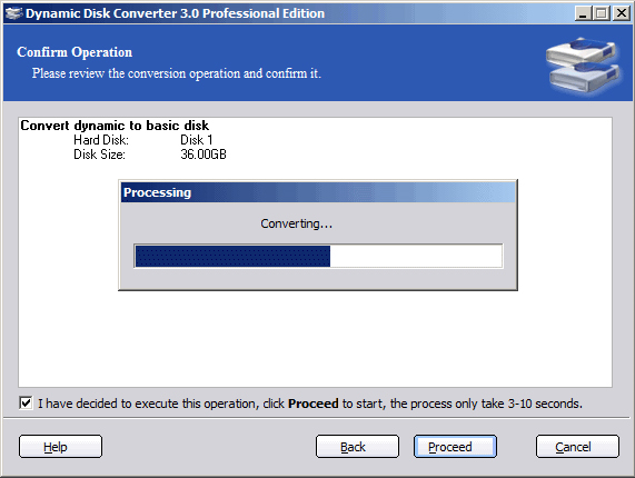 Dynamic Disk Converter Professional Edition, Hard Drive Software Screenshot