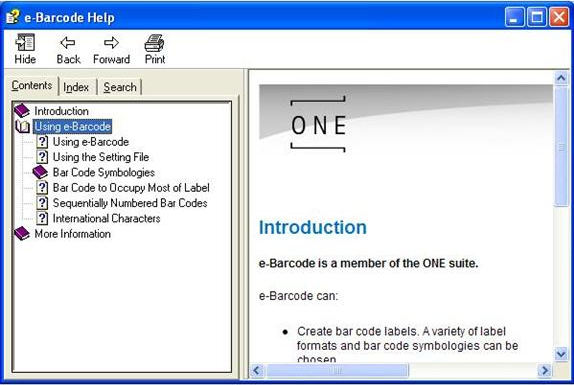 Barcode Software, e-Barcode Screenshot