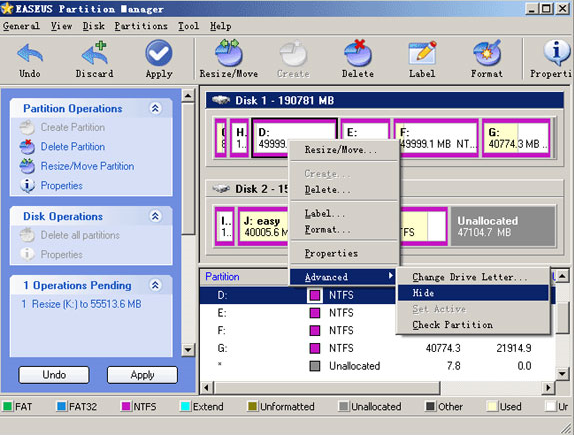 EASEUS Partition Manager, Software Utilities Screenshot