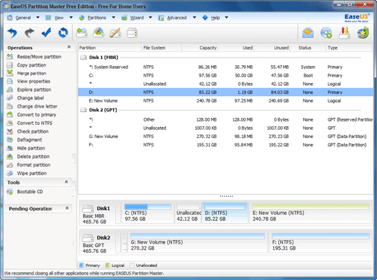 Other Utilities Software, EaseUS Partition Master Professional Screenshot