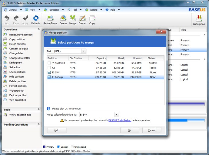 EaseUS Partition Master Professional Edition (Built-in Linux bootable disk license), Software Utilities Screenshot