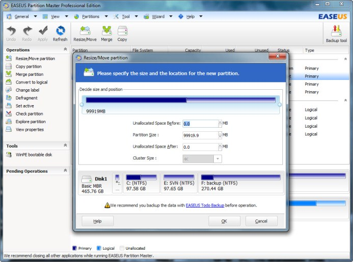 EaseUS Partition Master Professional Edition (Built-in Linux bootable disk license), Hard Drive Software Screenshot